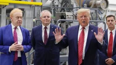 President of the United States Donald Trump, businessman Anthony Pratt and Prime Minister Scott Morrison during the official opening of the Pratt Industries Wapakoneta recycling and paper plant in Wapakoneta, Ohio.