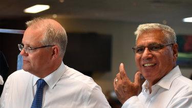 Prime Minister Scott Morrison and Liberal candidate for Gilmore Warren Mundine.