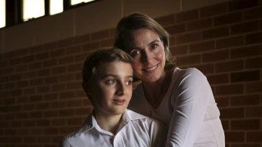 Jack Burai, 12, and his mother Vivian Rosati.
