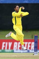 Tanveer Sangha of Australia bowls during the ICC U19 Cricket World Super League Cup Quarter Final 1 match between India and Australia at JB Marks Oval on January 28, 2020 .