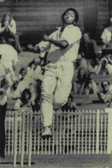 West Indies great Andy Roberts at a tour match at the MCG in 1975.