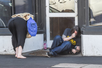 Users on the street in Richmond in 2017, before the injecting rooms opened