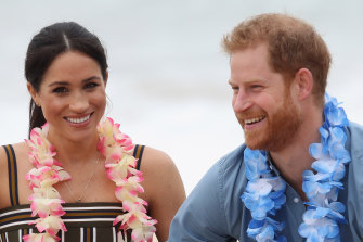 The Duke and Duchess of Sussex on Bondi Beach in October 2018.