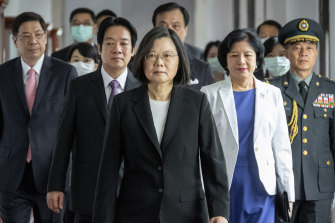 Taiwanese President Tsai Ing-wen, centre, walks ahead of Vice-President Lai Ching-te, left of her, as they attend their inauguration ceremony in Taipei last week.
