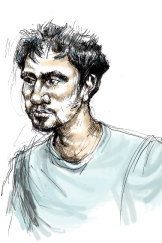 A court sketch of Codey Herrmann appearing before magistrate John Doherty on Saturday.