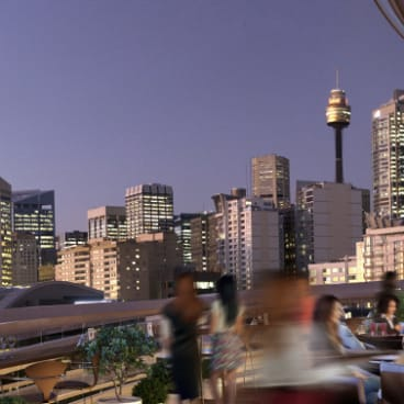 The roof-top bar at The Exchange building, Darling Square.