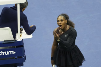 Serena Williams argues with the chair umpire Carlos Ramos during her match against Naomi Osaka at the US Open 2018.