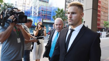 Challenge: Jack de Belin leaves the Federal Court during his challenge to the NRL's new policy on player behaviour.