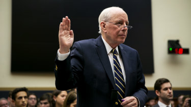 John Dean, former White House counsel, is sworn in during a hearing on lessons from the Mueller report in Washington, DC.