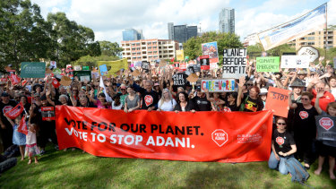 Anti-Adani protesters turned out to support the convoy at Parramatta Park as it makes its way to the Queensland coalmine.