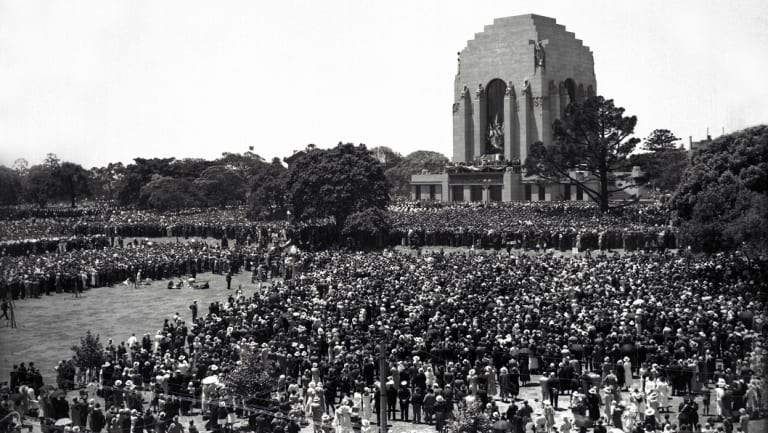 Crowds gather for the opening of the Anzac Memorial in Hyde Park on November 24, 1934.