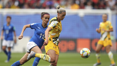 Alanna Kennedy in action against Italy. The Australian defender says the Matildas have put the loss to the Azzure behind them.