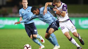 Arm in arm: Reza Goochannejhad tangles with Perth's Jake Brimmer in Sydney's 1-0 win.