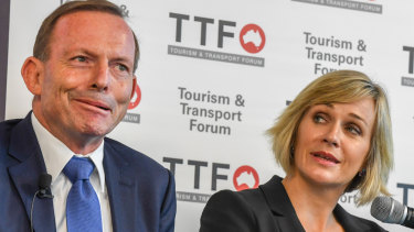 A real contest in a safe seat ... the member for Warringah, former prime minister Tony Abbott, with his independent rival Zali Steggall.