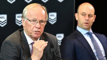 Head table: ARL Commission chairman Peter Beattie with NRL CEO Todd Greenberg. Both organisations have been rocked by a public backlash against Jack de Belin being allowed to play.