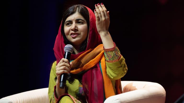 Malala speaking in Sydney on Monday night