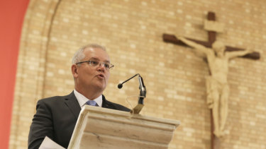 Prime Minister Scott Morrison during an ecumenical service to commemorate the opening of Parliament, at St Christopher's Cathedral in Canberra on Tuesday.
