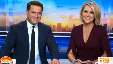 All smiles: Karl and Georgie on Monday morning's Today.