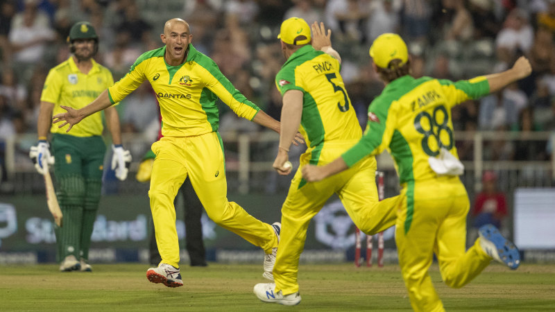Agar hat-trick seals Australian thrashing of South Africa in first T20