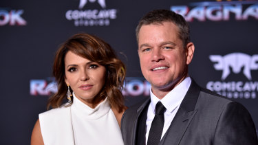 In quarantine: Matt Damon and wife Luciana Barroso at the Los Angeles premiere of Thor: Ragnarok in 2017.
