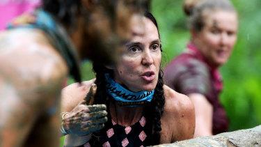 Janine Allis with Steven Bradbury in a challenge on Australian Survivor.