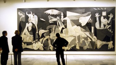 Picasso's Guernica on display at the Reina Sofia museum in Madrid.