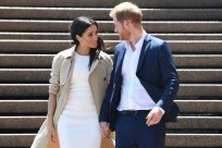 Prince Harry and his wife Meghan, the Duchess of Sussex, at the Opera House.