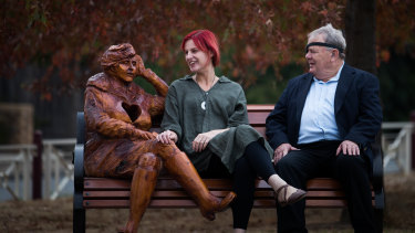 Much loved figures: the new sculptures' designer Amanda Gibson and Vietnam veteran Bill Cantwell with The Letter, depicting a woman waiting for a loved one serving elsewhere.