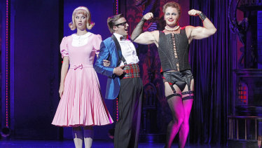 Christie Whelan Browne, left, and Craig McLachlan, right, in the Rocky Horror Show.