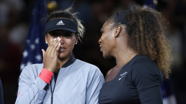 """""""Women of colour face impenetrable ceiling"""": Naomi Osaka and Serena Williams after the women's final of the US Open."""