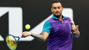 Nick Kyrgios overcame an injury scare to see off Alexandre Muller.