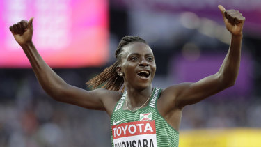 Burundi's Francine Niyonsaba at the world titles in 2017.