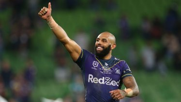 Josh Addo-Carr thanks the crowd after Friday night's win against Brisbane.