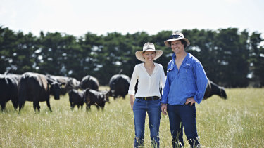 Eliza Holt and James McKenna sell their cattle direct to consumers through their business Mount Moriac Beef.