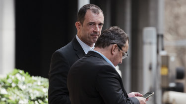 Former NSW Police chief inspector Joel Murchie (left) outside court this week.