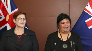 Australian Foreign Affairs Minister Marise Payne with her New Zealand  counterpart Nanaia Mahuta, whose remarks triggered the diplomatic tension.