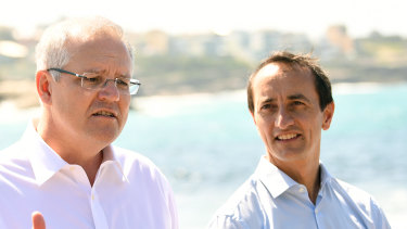Prime Minister Scott Morrison and Liberal Party candidate for Wentworth Dave Sharma.