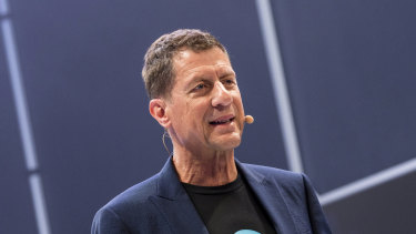 Steve Vamos, chief executive of Xero, opening the Xerocon conference in Brisbane.