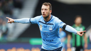 Sky high: A brace by striker Adam Le Fondre against Western United helped Sydney FC leapfrog Melbourne City at the top of the table.