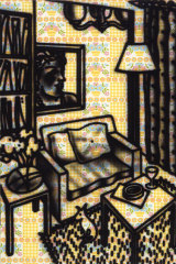 Howard Arkley's Suburban Interior, 1983, synthetic polymer paint on wallpaper on canvas, 159.8 x 120 cm. Heide Museum of Modern Art, The Baillieu Myer Collection of the '80s