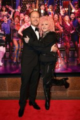 Australian theatre producer Michael Cassel with Cyndi Lauper at the opening of Kinky Boots.