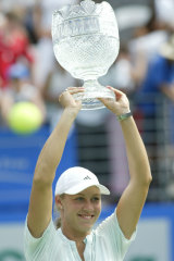 Triumph: Molik celebrates after beating Samantha Stosur in the final of the 2005 Sydney International.