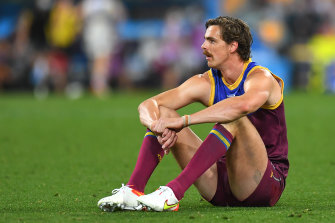 Joe Daniher reflects after the Lions were beaten by the Bulldogs.