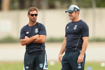 Brad Fittler and NSW assistant coach Andrew Johns were in good spirits at the session.