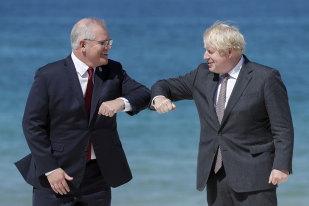 Prime Minister Scott Morrison and British Prime Minister Boris Johnson in Cornwall for the G7 summit.