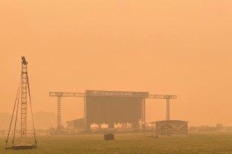 Smoke surrounds All Saints Estate in Wahgunyah, Victoria.