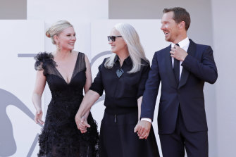Kirsten Dunst, Jane Campion and Benedict Cumberbatch at the Venice Film Festival red carpet of the movie The Power Of The Dog.