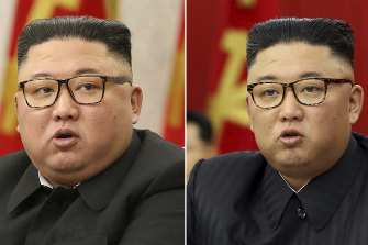 Kim Jong-un at Workers' Party meetings in Pyongyang on February 8, left, and on June 15. Last time Kim faced rumours about his health, he had walked with a cane, missed an important state anniversary or panted for breath.
