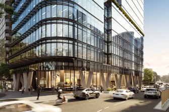 Renders of property developer JQZ's planned office tower at 558 Pacific Highway, St Leonards.