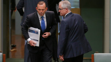 Tony Abbott and  Malcolm Turnbull depart at the end of Question Time, just before the leadership ballot was called.